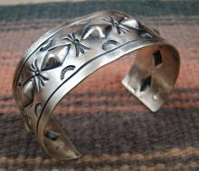 Navajo Repousse Stamped Silver Bracelet By A.lee