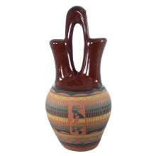 Kokopelli Water Wave Wedding Vase- Navajo Hand Crafted Pot By Artist Tamaria Arviso