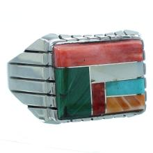 Sterling Silver Navajo Multicolor Inlay Ray Jack Ring Size 11-1/2