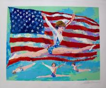 Leroy Neiman Golden Girl Hand Signed Limited Edition Serigraph Gymnast Mary Lou Retton