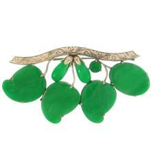 Untreated  Green Jadeite Jade Pin