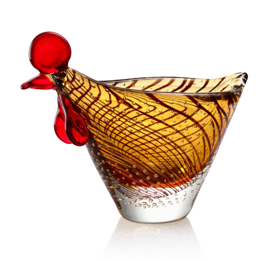 Art Glass Hen Bowl
