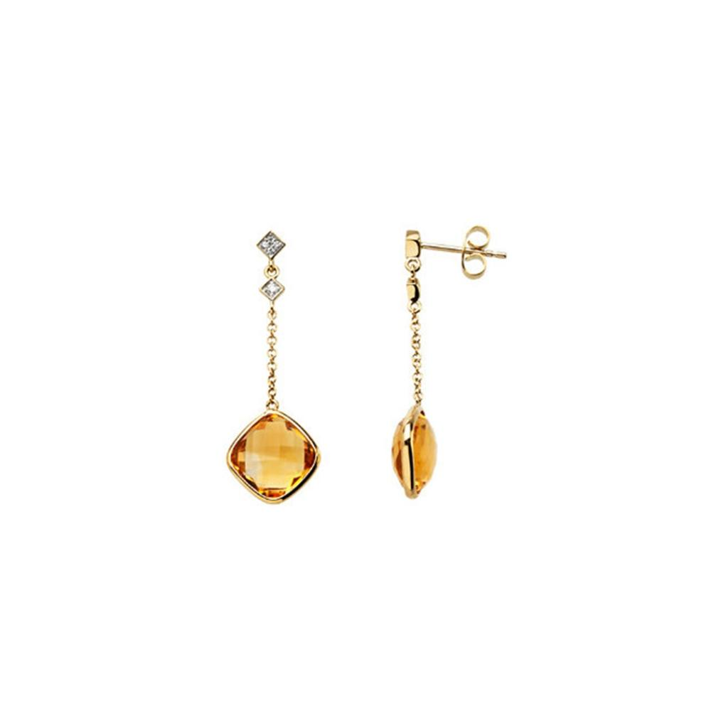 14K Yellow Citrine & .05 CTW Diamond Earrings