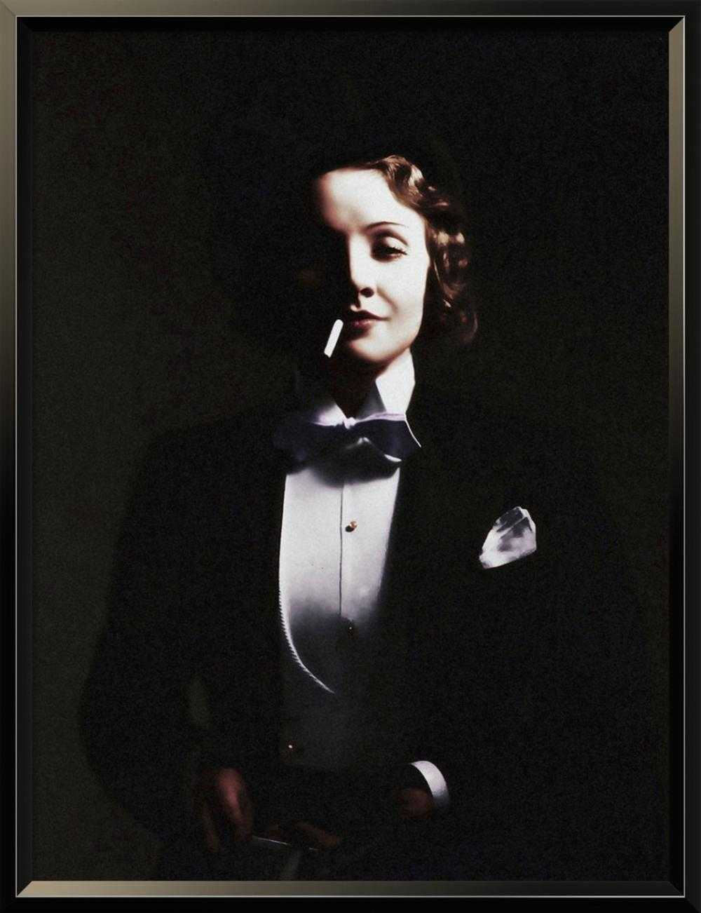 HOLLYWOOD PHOTO ARCHIVE - MARLENE DIETRICH IN TOP HAT - TINTED