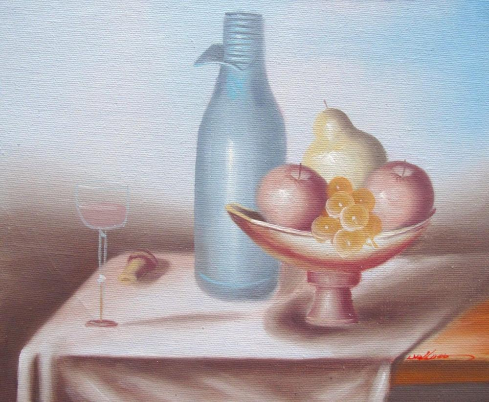 Original Oil Painting  Fruit And Wine