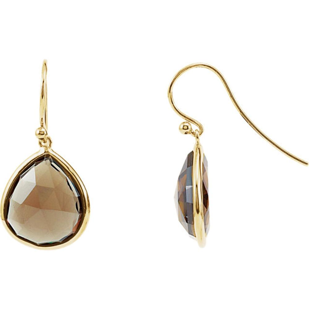 14K Yellow Gold-Plated Sterling Silver Genuine Smoky Quartz Earrings