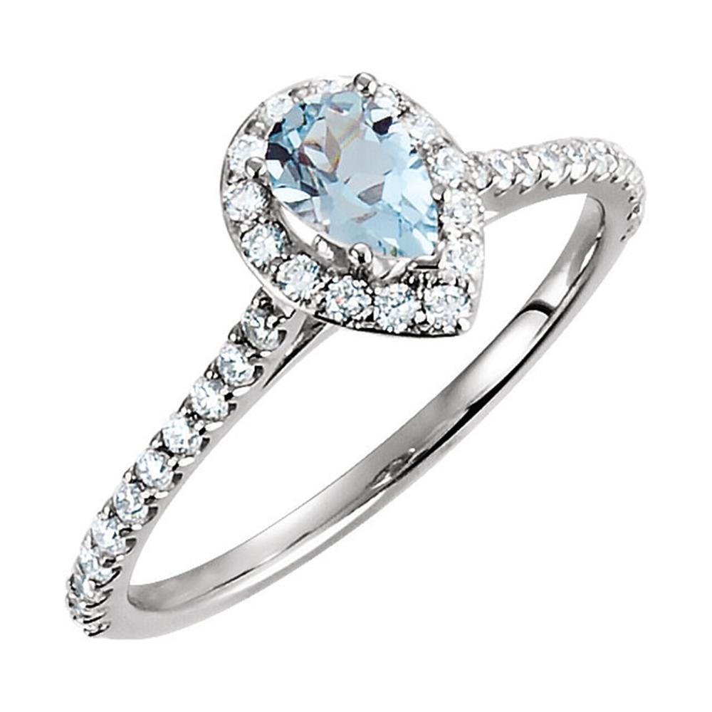 14K White Aquamarine & 3/8 CTW Diamond Engagement Ring
