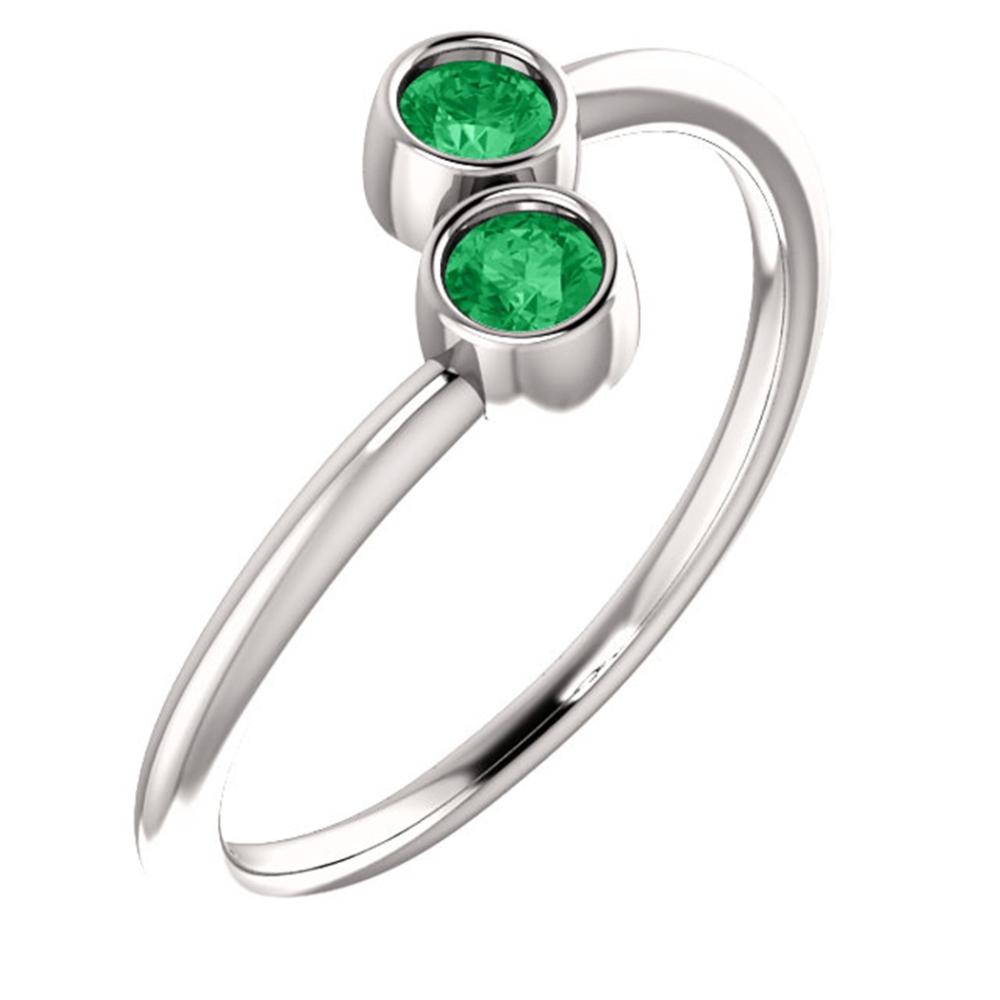 14K White Chatham® Created Emerald Two-Stone Ring