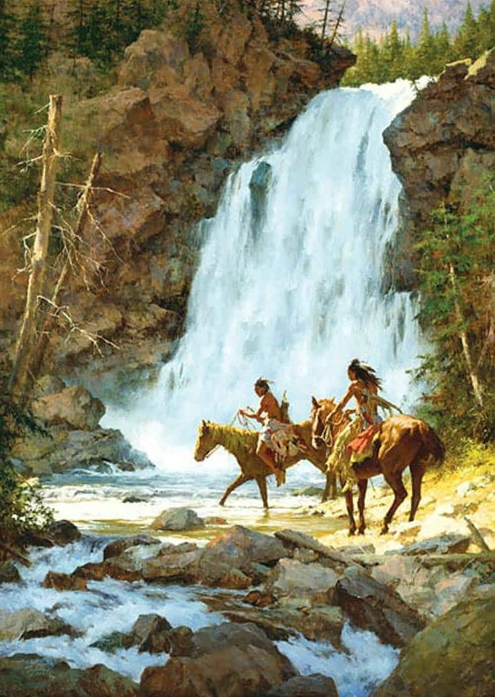 Howard Terpning...Crossing Below the Falls