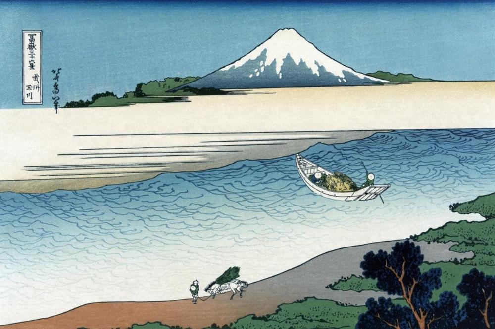 HOKUSAI - TAMA RIVER IN MUSASHI PROVINCE, 1830