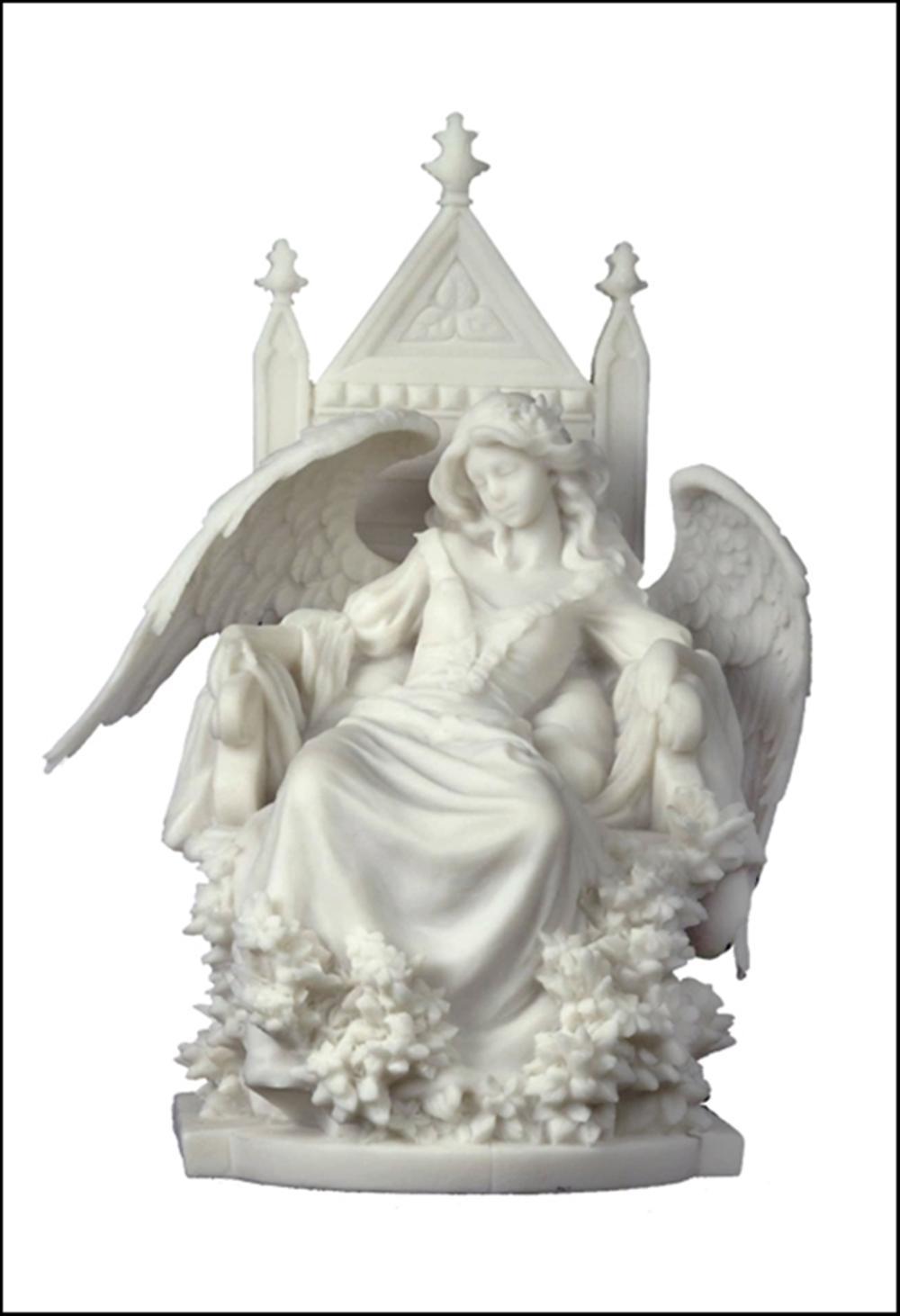 FEMALE GOTHIC ANGEL SLEEPING IN A THRONE