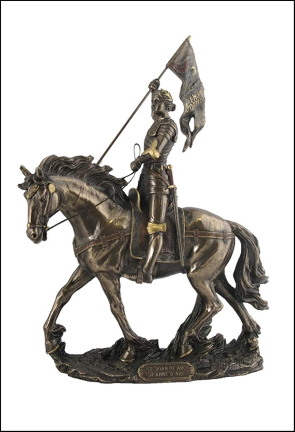 JOAN OF ARC ON HORSE BACK WITH FLAG  Art