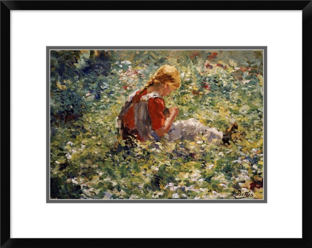 EVERT PIETERS - A YOUNG GIRL IN A FLOWER GARDEN