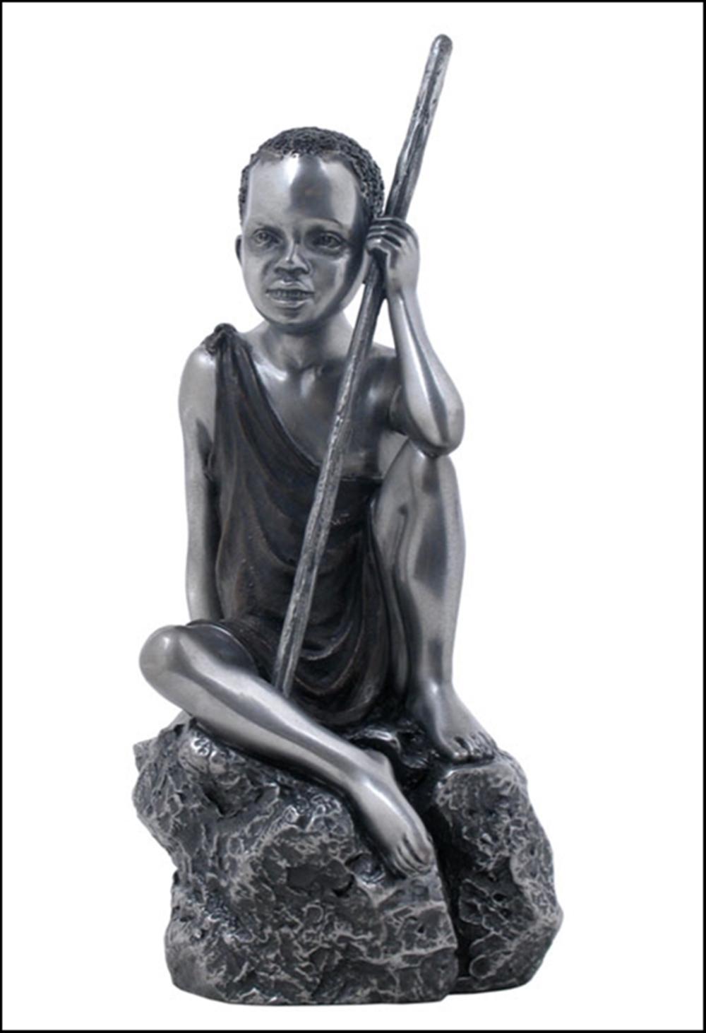 MAASAI KID SITTING ON THE ROCK Art