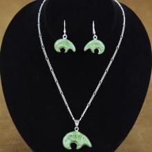 Turquoise Sterling Silver Bear Pendant and Earrings Set