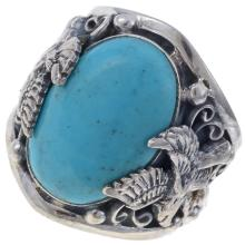 Turquoise Eagle Mens Ring Silver Any Size