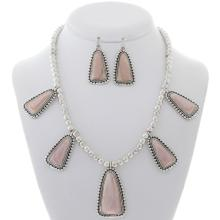 Pink Shell Silver Bead Necklace Set French Hook Earrings