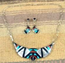 Zuni Multi Stone Geometrical Inlay Double Quail Necklace & Earrings Set By D.othole