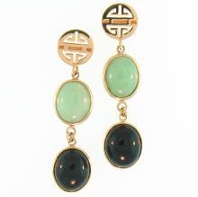 Untreated Green Black Jadeite Jade Earrings