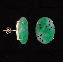 Untreated Green Jadeite Jade Earrings