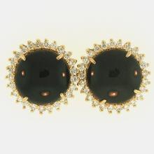 Untreated Black Jadeite Jade Earrings