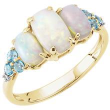 14K Yellow Opal, Swiss Blue Topaz, & .015 Diamond Ring