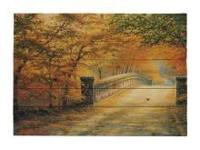 Autumn Bridge By Charles White  Painting Print On Decorative Wood Wall Decor