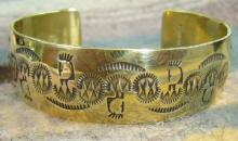 12 Kgf Stamped Kokopelli And Owl Bracelet