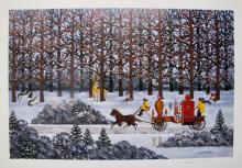 Jane Wooster Scott Dashing Through The Snow Hand Signed Limited Edition Lithograph