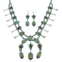 Fox Turquoise Sterling Silver American Indian Squash Blossom Necklace Set