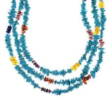 Navajo Indian 3-Strand Multicolor Bead Necklace