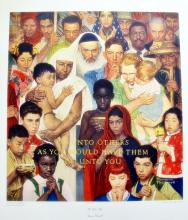 Norman Rockwell The Golden Rule 1973   Do Onto Others