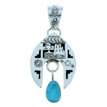 Navajo Storyteller Naja Turquoise Authentic Sterling Silver Pendant