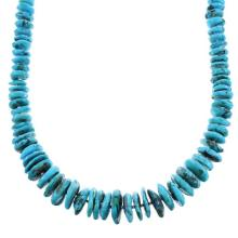 Turquoise Sterling Silver Native American Bead Necklace