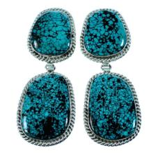 Navajo Sterling Silver Turquoise Post Dangle Earrings