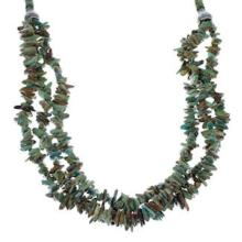 Native American 3-Strand Turquoise And Silver Bead Necklace