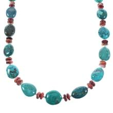 Navajo Turquoise And Red Oyster Shell Genuine Sterling Silver Bead Necklace