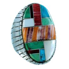 Ray Jack Multicolor Inlay Authentic Sterling Silver Navajo Ring Size 12-3/4
