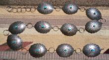 Vintage 70's Navajo 11pc Turquoise Decorative Stamped Cloud Sun Feathers Concho Link Belt
