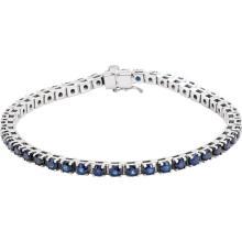 14K White Blue Sapphire Line Bracelet