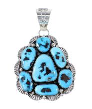 Sleeping Beauty Turquoise Navajo Sterling Silver Pendant