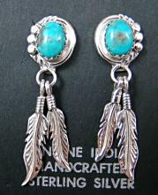 Navajo Turquoise Double Feathers Earrings By Running Bear