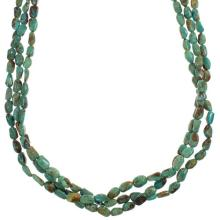 Genuine Sterling Silver Native American 3-Strand Kingman Turquoise Bead Necklace