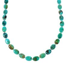 Native American Genuine Sterling Silver Kingman Turquoise Bead Necklace