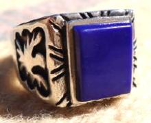 Large Southwest Square Lapis Eagle-phoenix Overlay Ring