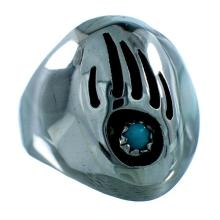 Authentic Sterling Silver Bear Paw Turquoise Native American Ring Size 9-3/4