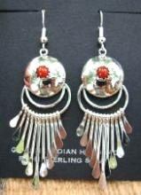 Navajo Coral Hollow Dome W/spoons Sun & Moon Earrings By P.armstrong
