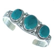 Turquoise And Sterling Silver Native American Cuff Bracelet