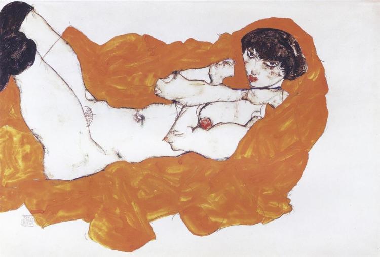 EGON SCHIELE RECLINING FEMALE NUDE ON RED DRAPE