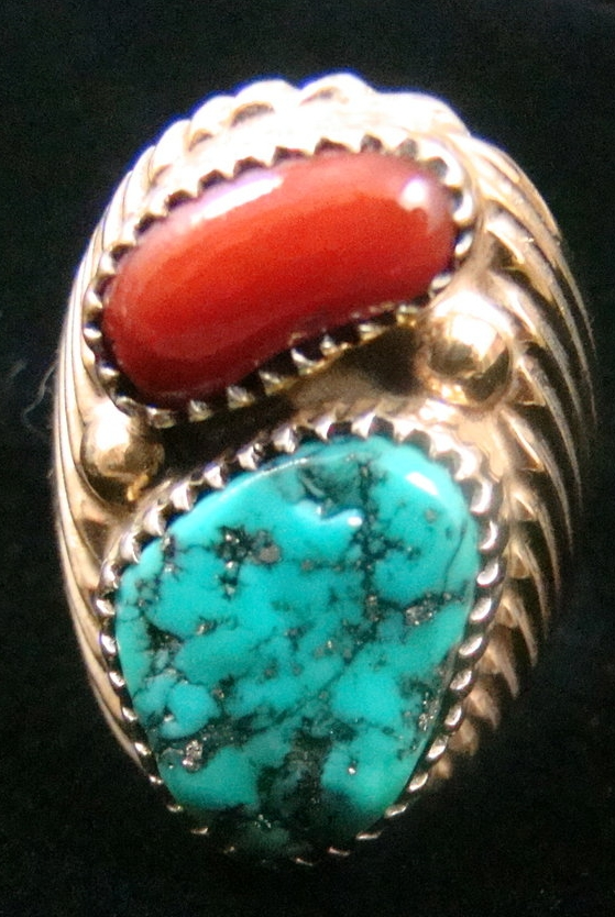 Vintage Men's Navajo Gold Vermeil Sterling Turquoise Coral Sun Rays Ring By Tkw Sz 11 1/4